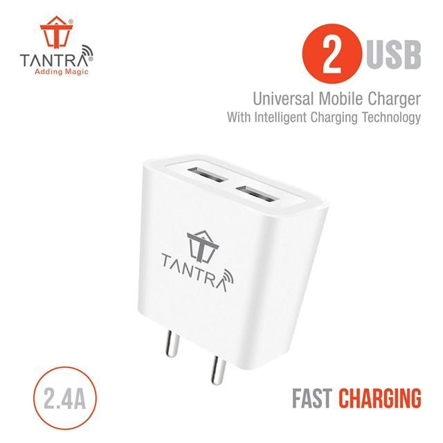 TANTRA® Dual USB Fast Wall Charger for Mobile 2.4 AMP with ...