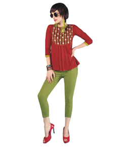 American crepe plain short kurti with embriodery work