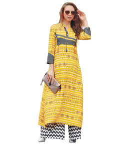 Yellow Rayon long kurti with printed work