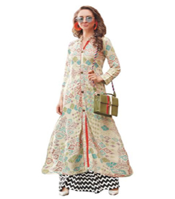 Off white Rayon long kurti with printed work