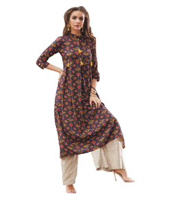 Psyna Long plain kurti with thread work