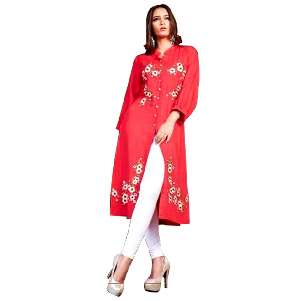 Psyna knee length plain kurti with thread work