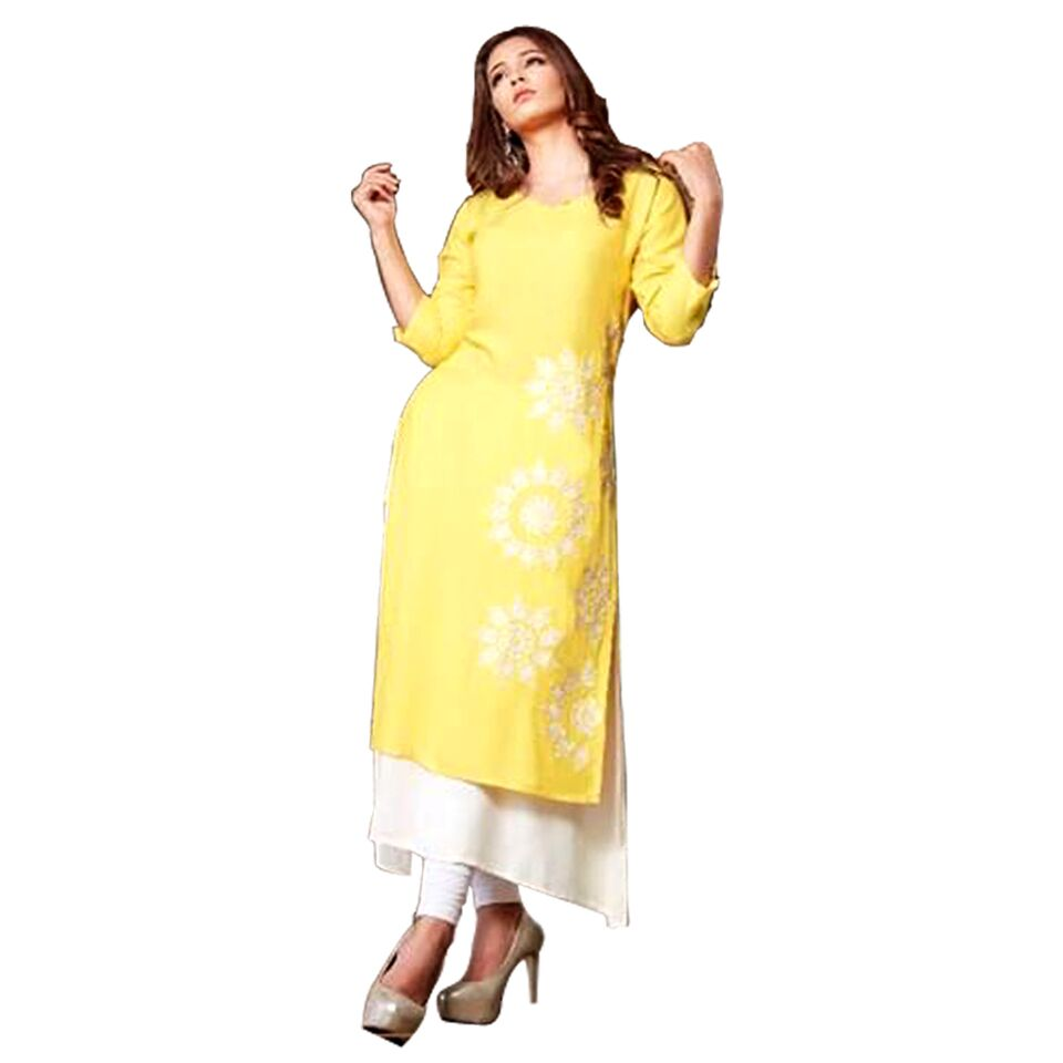 Psyna long kurti with thread work and inner jacket