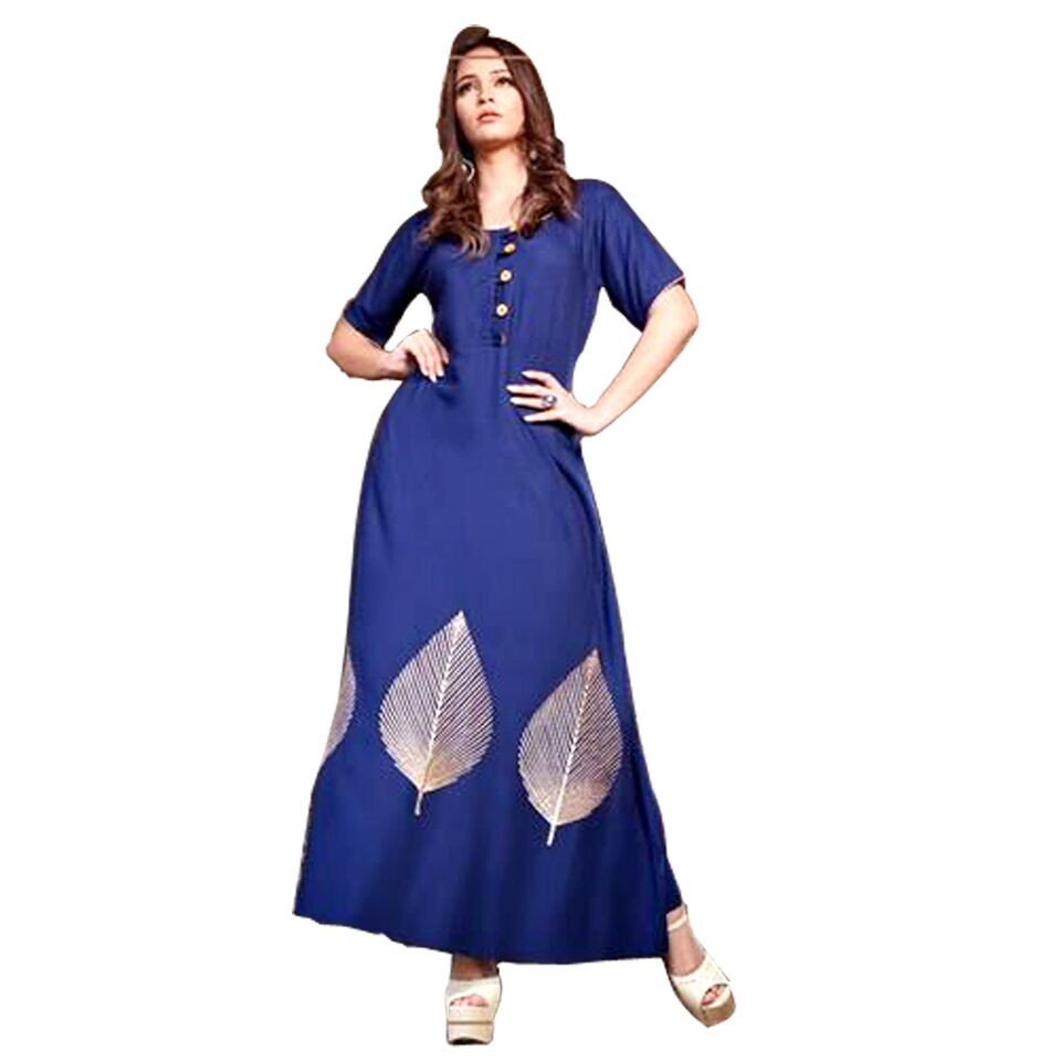 Psyna long plain kurti with golden thread work