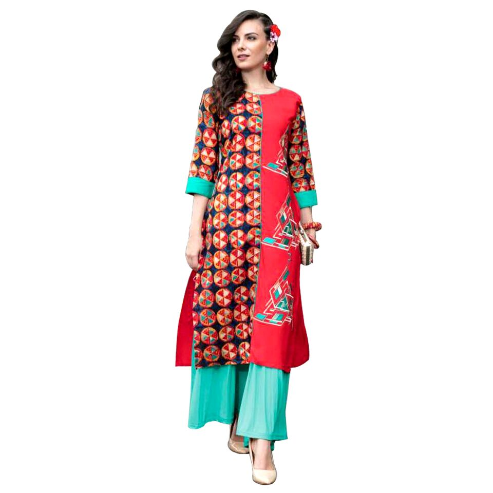 Honey heavy rayon kurti with prints and embriodery work