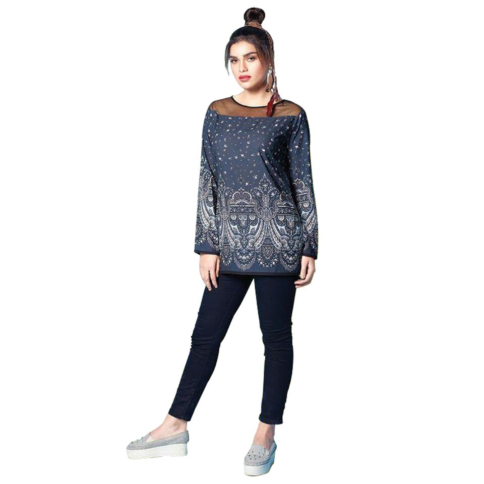 Eternal stitched short muslin kurti with printed work