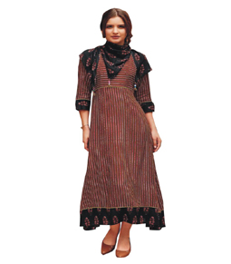 Dark brown rayon stitched long printed kurti