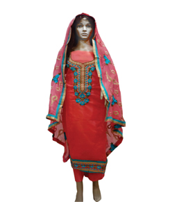 Chanderi salwar suit with heavy thread work...